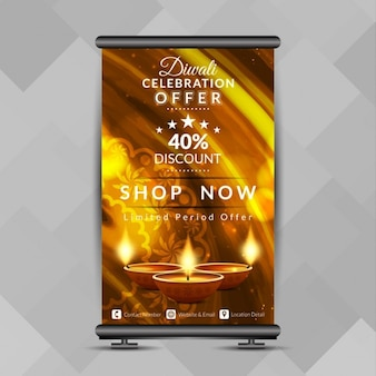 Diwali festival offrire luminoso roll up banner design