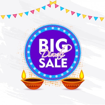 Diwali grande vendita modello di banner design con lampada a olio illuminata (diya)