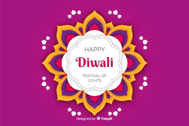 Diwali sfondo viola in stile carta