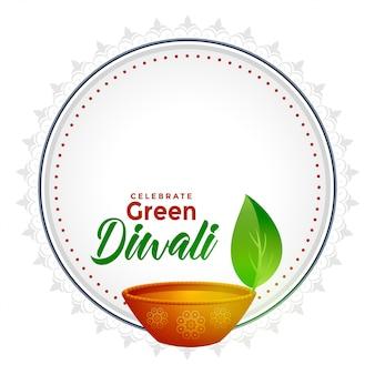 Diwali verde con spazio testo