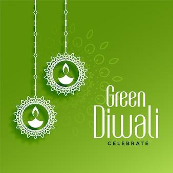 Diwali verde ecologico con decorazione di diya appesa