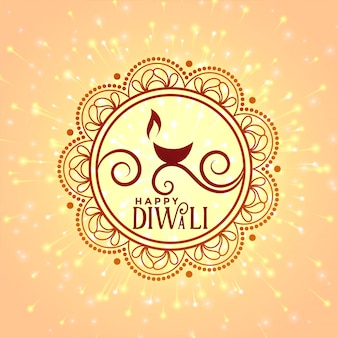Diya decorativo per felice festival di diwali