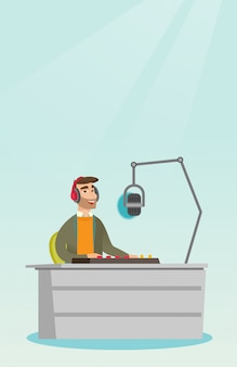 Dj che lavora sull'illustrazione di vettore della radio