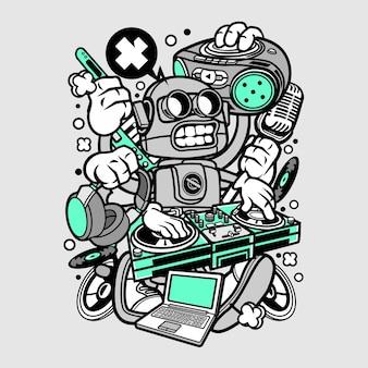 Dj robot cartoon