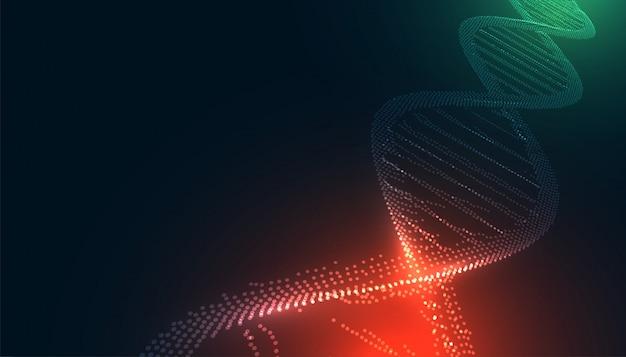 Dna incandescente realizzato con sfondo medico di particelle