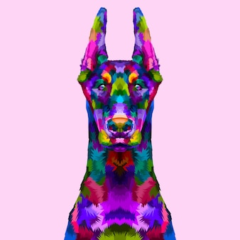 Doberman colorato ritratto