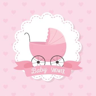 Doccia di bambino, illustrazione rosa del fondo dei cuori della decorazione dell'etichetta del nastro della carrozzina
