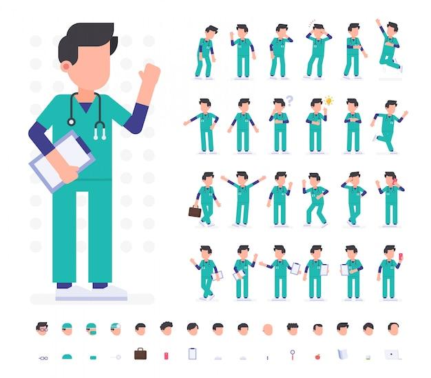 Doctor character set in diverse pose. illustrazione vettoriale piana. isolato