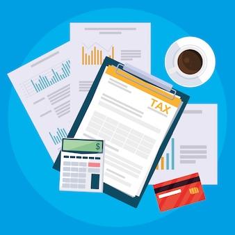 Documenti air view e articoli da ufficio