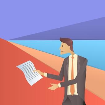 Documenti cartacei della stretta dell'uomo di affari