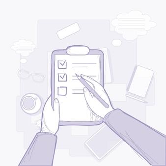 Documento cartaceo con lista di controllo della tenuta in mano