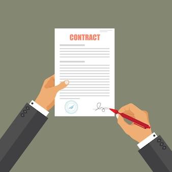 Documento cartaceo di accordo del segno dell'uomo d'affari