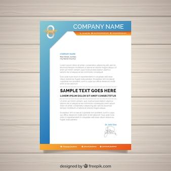 Documento d'affari arancione e blu