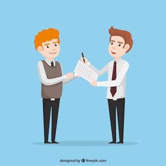 Documento di contratto di carattere piatto commesso venditore