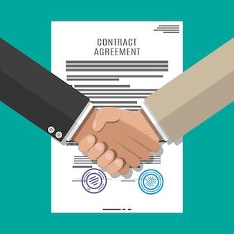 Documento di contratto e stretta di mano