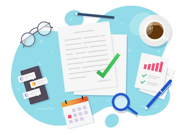 Documento di contratto o accordo firmato con un affare di successo sul tavolo da scrivania sul posto di lavoro piatto vettore laico