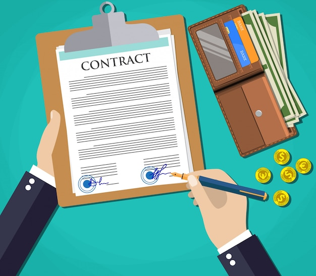 Documento di uomo d'affari che firma un contratto,