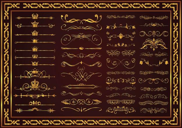 Documento elementi decorativi elegante colore oro