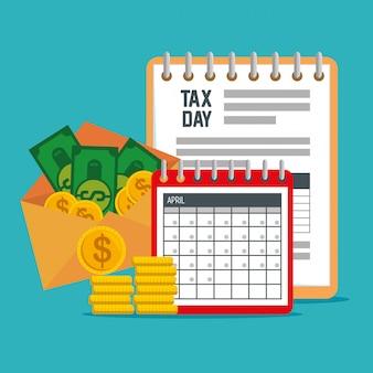 Documento fiscale di servizio con calendario e monete