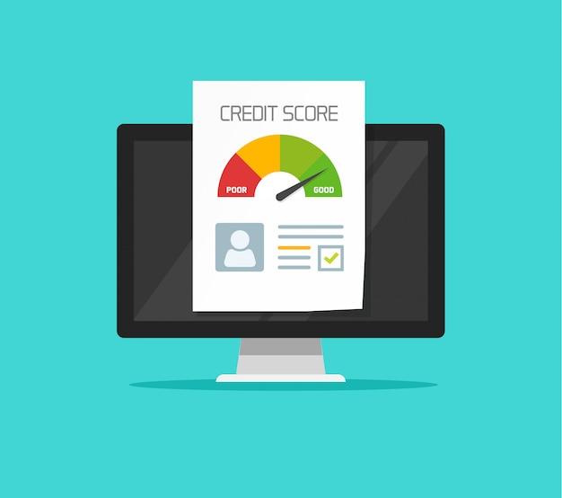 Documento online del rapporto del punteggio di credito sul clipart piano del fumetto del computer