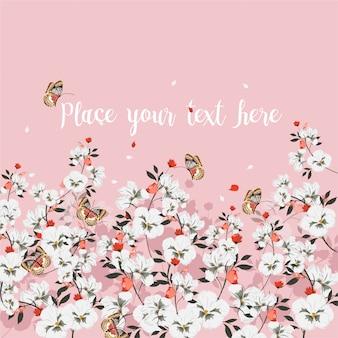Dolce atmosfera di cartolina d'auguri con fiori che sbocciano con farfalla. posto per il testo., fiori di campo, illustrazione vettoriale