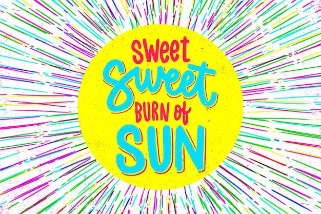 Dolce bruciatura dell'iscrizione estiva del sole