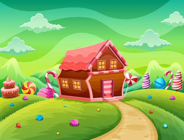Dolce casa di biscotti e caramelle