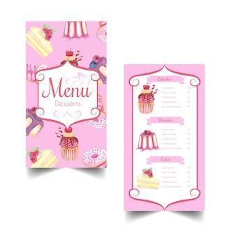 Dolce dessert e modello di menu dell'acquerello di pasticceria