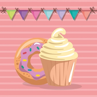 Dolce e delizioso cupcake con biglietto d'auguri ciambella