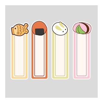 Dolce giapponese del dessert dei segnalibri adorabili svegli di kawaii del fumetto, vettore della carta del segnalibro