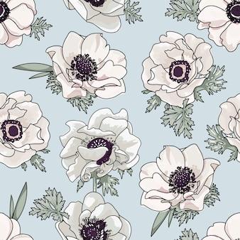 Dolce motivo floreale con fiori di primavera anemone in stile acquerello vintage su sfondo azzurro. illustrazione senza cuciture di schizzo del profilo disegnato a mano.