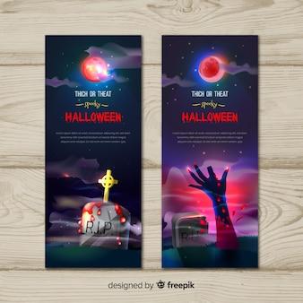 Dolcetto o scherzetto banner di halloween