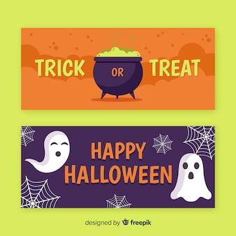 Dolcetto o scherzetto banner piatto di halloween