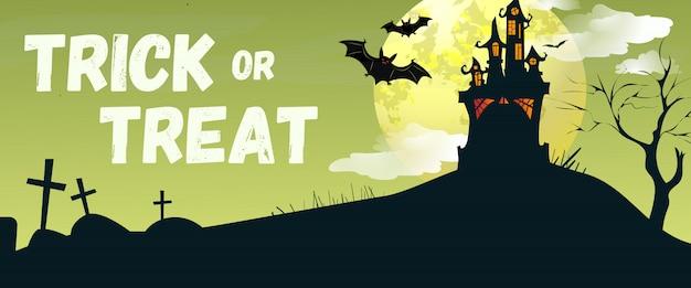 Dolcetto o scherzetto lettering con castello e pipistrelli