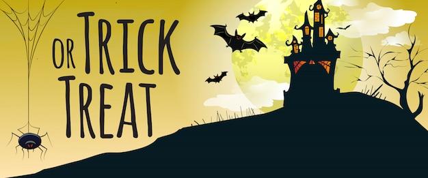 Dolcetto o scherzetto lettering con castello, pipistrelli e ragno