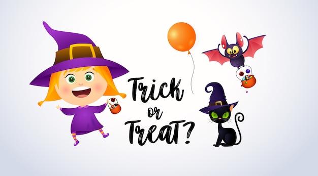 Dolcetto o scherzetto lettering con ragazza che indossa il costume da strega e il gatto
