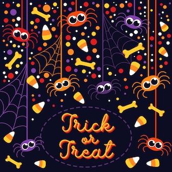 Dolcetto o scherzetto simpatici ragni e ossa cartolina d'auguri di halloween