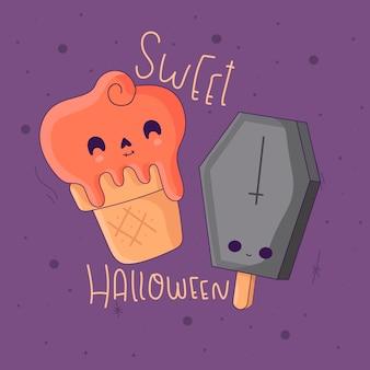 Dolci di halloween su viola