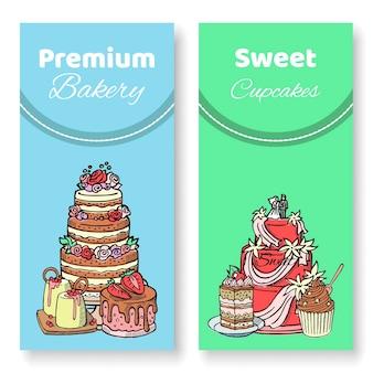 Dolci e cupcakes. cioccolato, napoleone, tiramisù, sacher, eclair e cheesecake.
