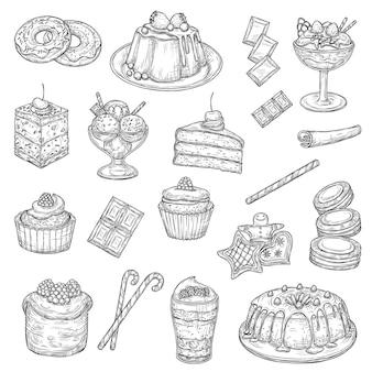 Dolci e torte di pasticceria, schizzi di cibi dolci