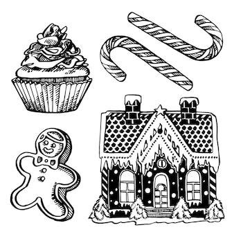 Dolci natalizi. illustrazione disegnata a mano elementi di design di natale e capodanno. . illustrazione d'epoca