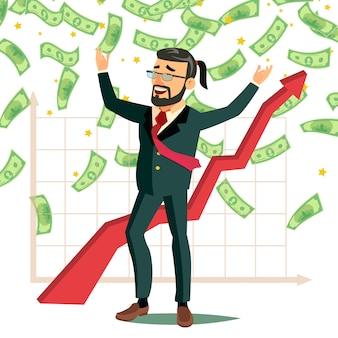 Dollar rain uomo d'affari