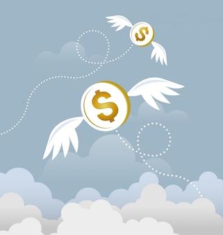 Dollaro della moneta con le ali che volano nel cielo. concetto di denaro perso