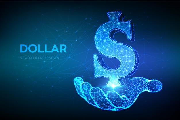 Dollaro. linea di poligonale astratta bassa poligonale e punto segno del dollaro degli stati uniti a disposizione.