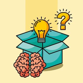 Domanda di lampadina scatola idea cervello creativo