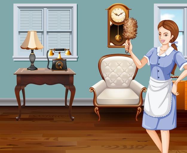 Domestica che pulisce la casa