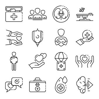 Donare gli organi icone set, struttura di stile