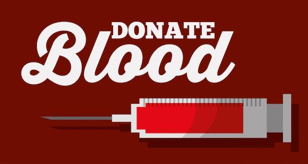 Donare la siringa per il sangue medico sanitario