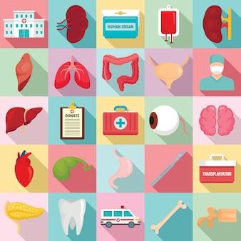 Donare set di icone di organi, stile piano