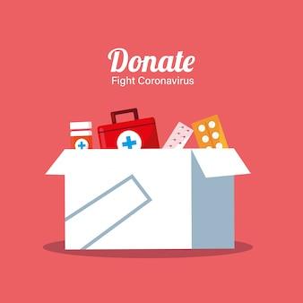 Donazione di scatole con medicine
